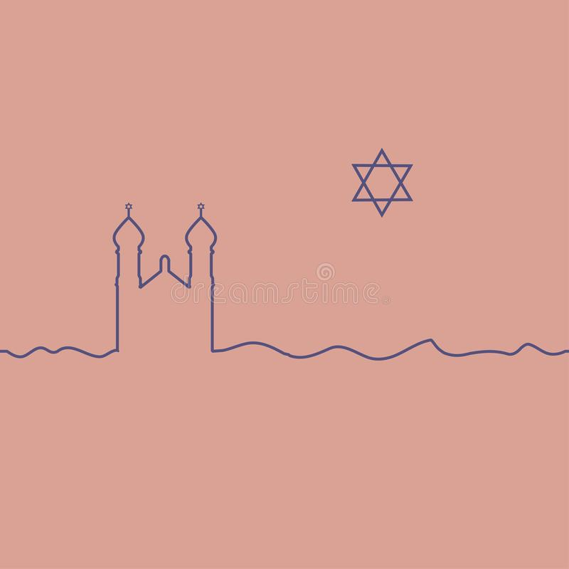 Judaism synagogue and David Star. One line drawing. Vector stock illustration