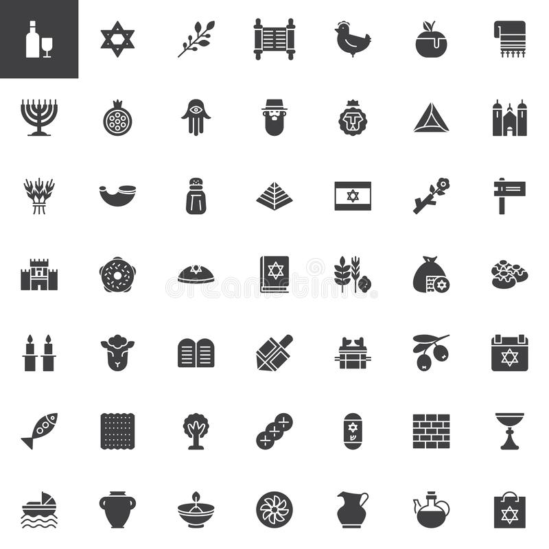 Judaism vector icons set. Modern solid symbol collection, filled style pictogram pack. Signs, logo illustration. Set includes icons as Magen david star, Hebrew vector illustration