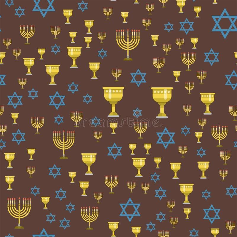 Judaizmu Hanukkah synagoga kościelnego tradycyjnego bezszwowego deseniowego religijnego passover żyd wektoru hebrew ilustracja