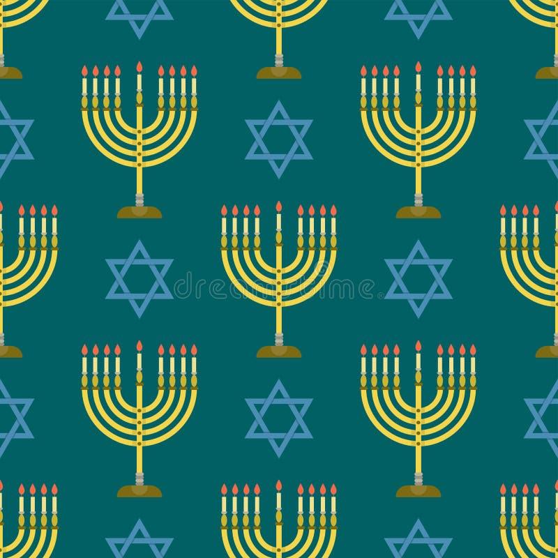 Judaizmu Hanukkah synagoga kościelnego tradycyjnego bezszwowego deseniowego religijnego passover żyd wektoru hebrew ilustracja ilustracji