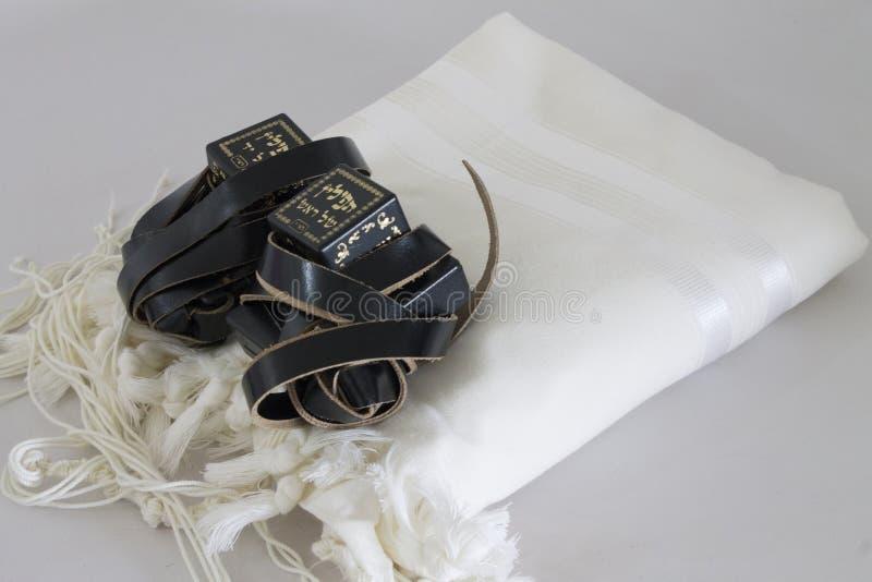 Judaizmu przedmiota tallit tefillin siddur dla modlitwy zdjęcie stock