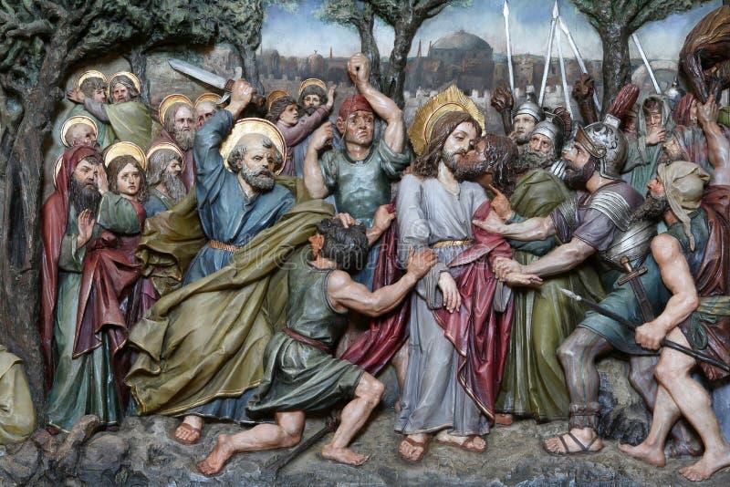 Judas亲吻,耶稣在Gethsemane庭院里  免版税库存照片