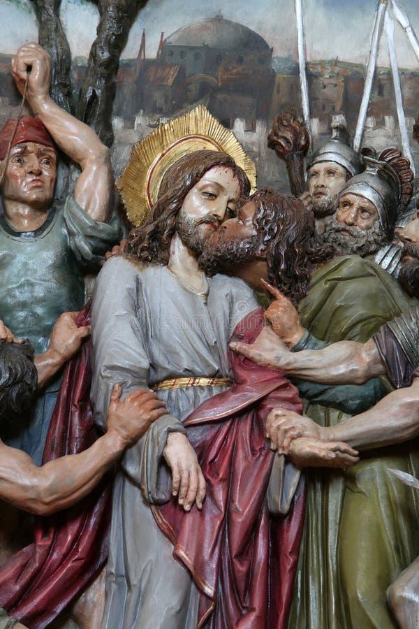 Judas亲吻,耶稣在Gethsemane庭院里  图库摄影