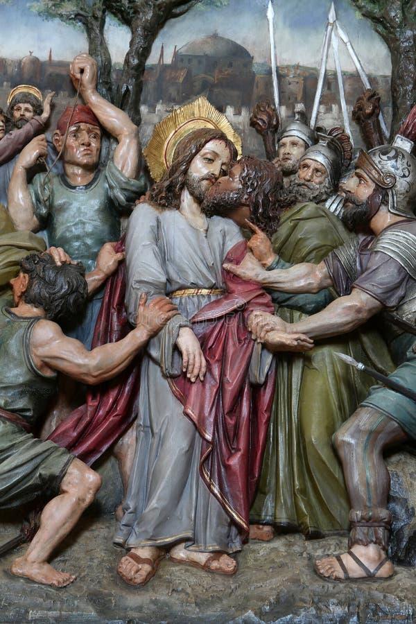 Judas亲吻,耶稣在Gethsemane庭院里  免版税图库摄影