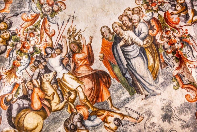 Judas Jesus Fresco Sanctuary de Jesus Atotonilco Mexico photo libre de droits