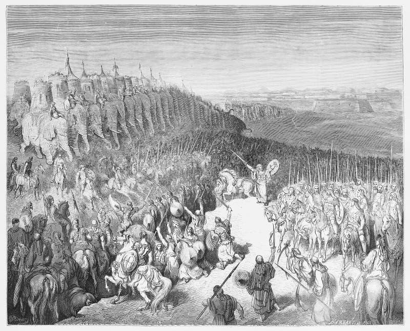 Judas Maccabeus在Nicanor面前军队  库存照片