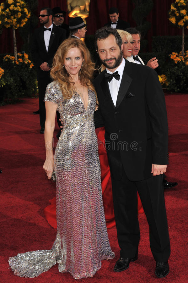 Judd Apatow, Leslie Mann stock photo