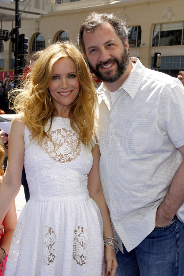 Judd Apatow and Leslie Mann. April 10, 2011. Leslie Mann and Judd Apatow at the Los Angeles premiere of Rio held at the Grauman's Chinese Theater in Los Angeles stock photos