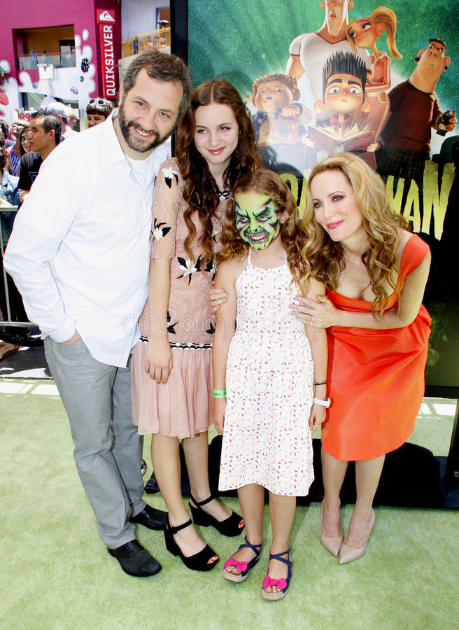 Judd Apatow and Leslie Mann. Iris Apatow, Judd Apatow, Leslie Mann and Maude Apatow at the Los Angeles premiere of 'ParaNorman' held at the Universal CityWalk in royalty free stock photo