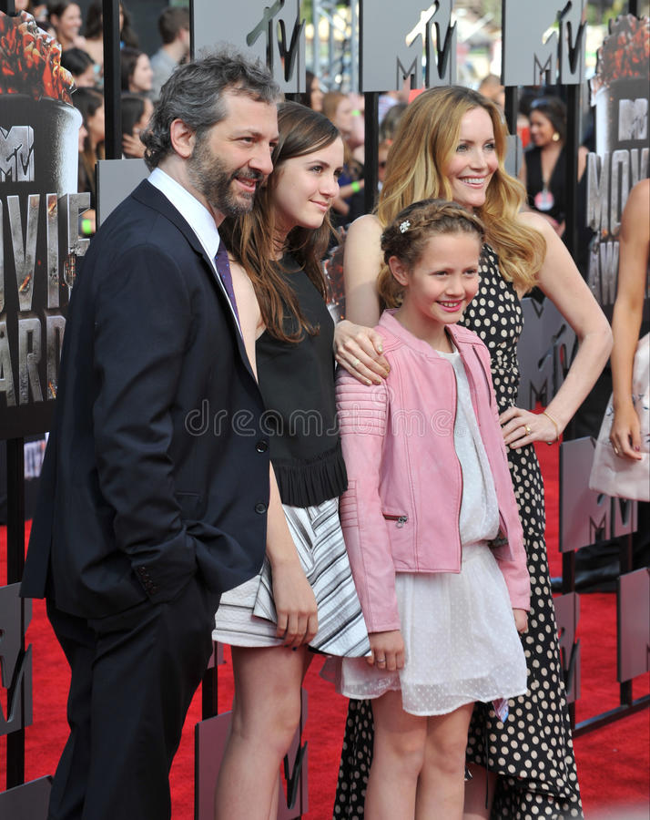 Judd Apatow & Leslie Mann. LOS ANGELES, CA - APRIL 13, 2014: Judd Apatow & Leslie Mann at the 2014 MTV Movie Awards at the Nokia Theatre LA Live stock images