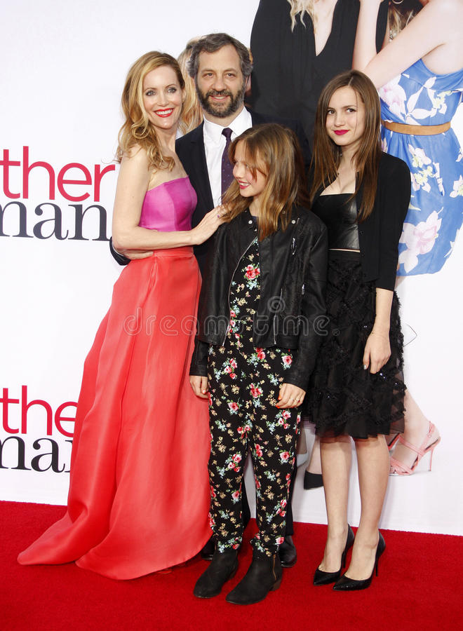 Judd Apatow and Leslie Mann. At the Los Angeles premiere of The Other Woman held at the Regency Village Theatre in Los Angeles on April 21, 2014 in Los Angeles stock images
