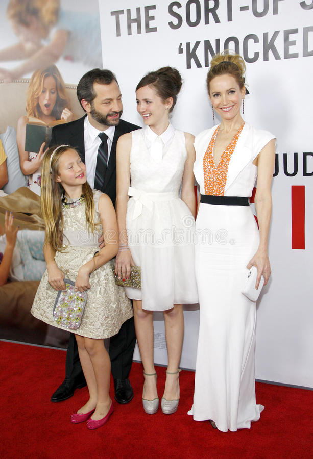 Judd Apatow, Maude Apatow, Iris Apatow and Leslie Mann. At the Los Angeles premiere of This Is 40 held at the Grauman's Chinese Theatre in Los Angeles, United royalty free stock image