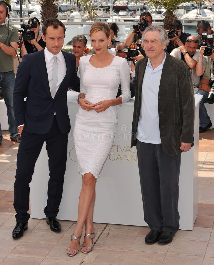 Jude Law, Robert De Niro, Uma Thurman, de Jury stock afbeelding