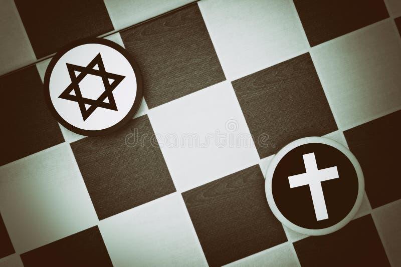 Judentum gegen Christentum stockfoto