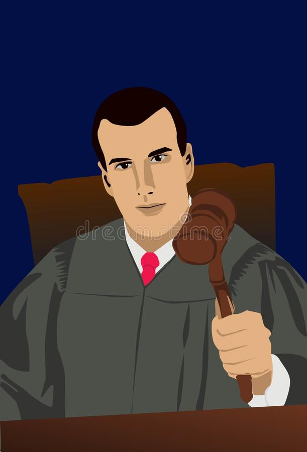 The Judge. Image of a judge who is handing his verdict in court royalty free illustration