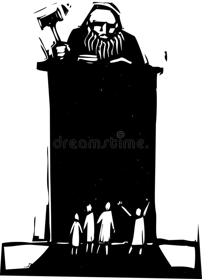 Judge. Woodcut style judge sitting atop his bench with crowd in front vector illustration