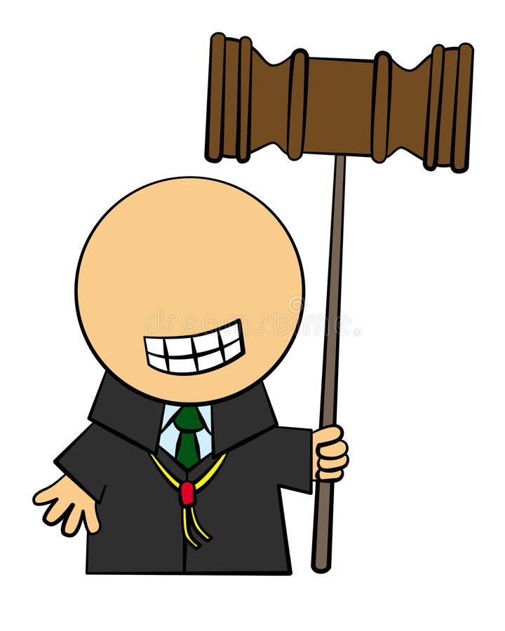 Judge. Illustration of a cartoon judge holding a giant mallet vector illustration
