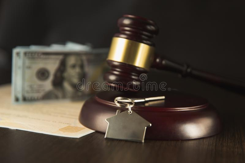 Judge Auctioneer Hammer, Door Key On Wooden Table. Concept For Court, Bankruptcy, Taxes, Mortgage, Auctions, Foreclosure. Or Inheritance Of Real royalty free stock photo