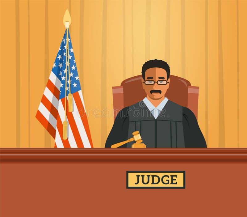 Judge black man in courtroom vector flat illustration. Judge black man in courtroom at tribunal with gavel and american flag. Judicial cartoon background. Civil stock illustration
