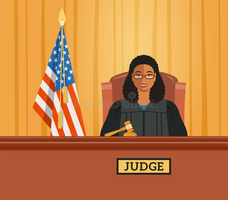 Judge black woman in courtroom vector flat illustration. Judge black woman in courtroom at tribunal with gavel and american flag. Judicial cartoon background stock illustration