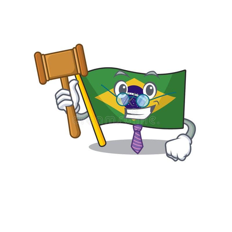 Judge brazil flag kept in mascot drawer. Illustration vector vector illustration