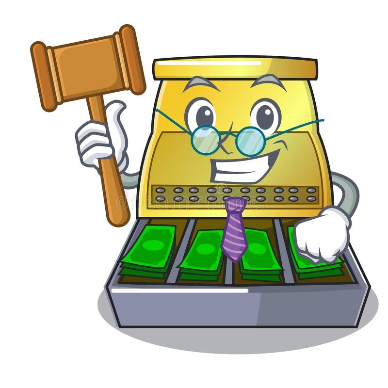 Judge cartoon cash register with a money drawer stock illustration