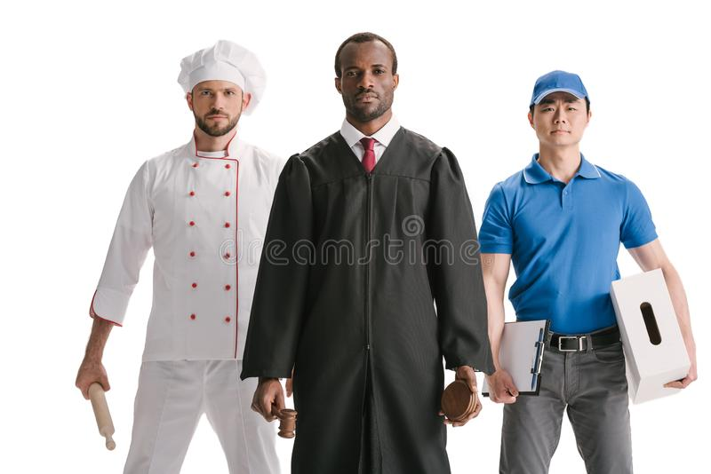 judge chef and courier isolated stock images