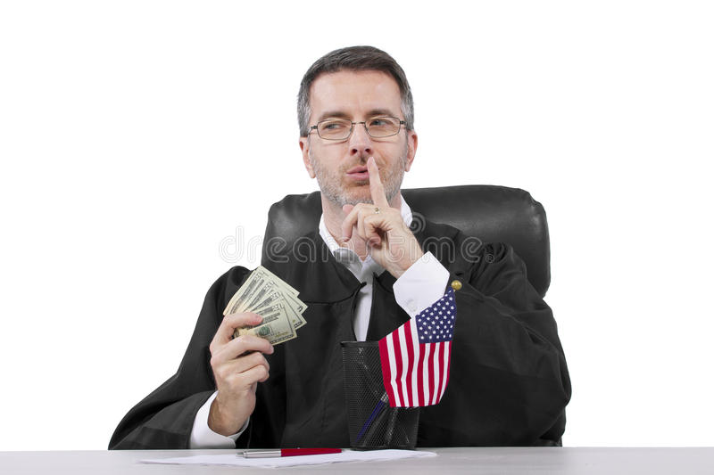 Judge. Corrupt american judge taking money as a bribe or stealing stock photos
