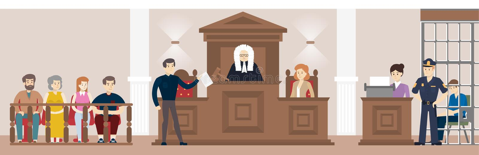 Judge in court. Judging guilty person with law and witnesses vector illustration