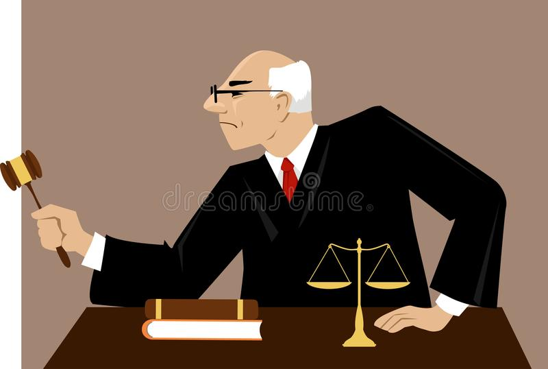 Judge in a courtroom. Male judge with a gavel presides over court proceeding, EPS 8 vector illustration vector illustration