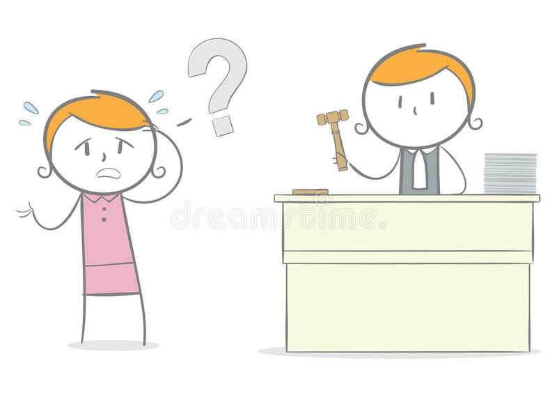 Judge and Defendant. Doodle stick figure: An innocent defendant accussed guilty by a judge royalty free illustration