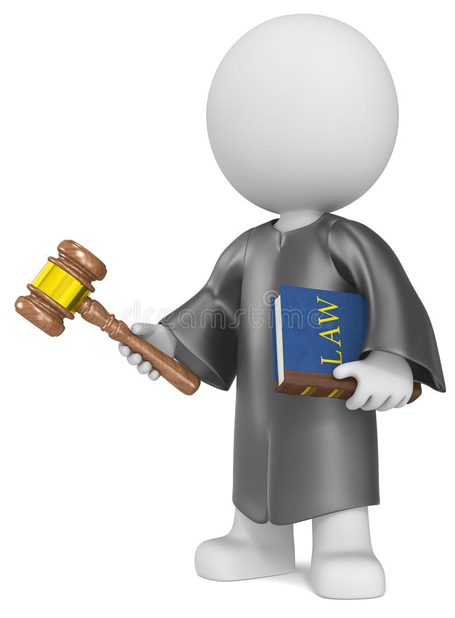 The Judge. Dude the Judge holding Law book and hammer stock illustration