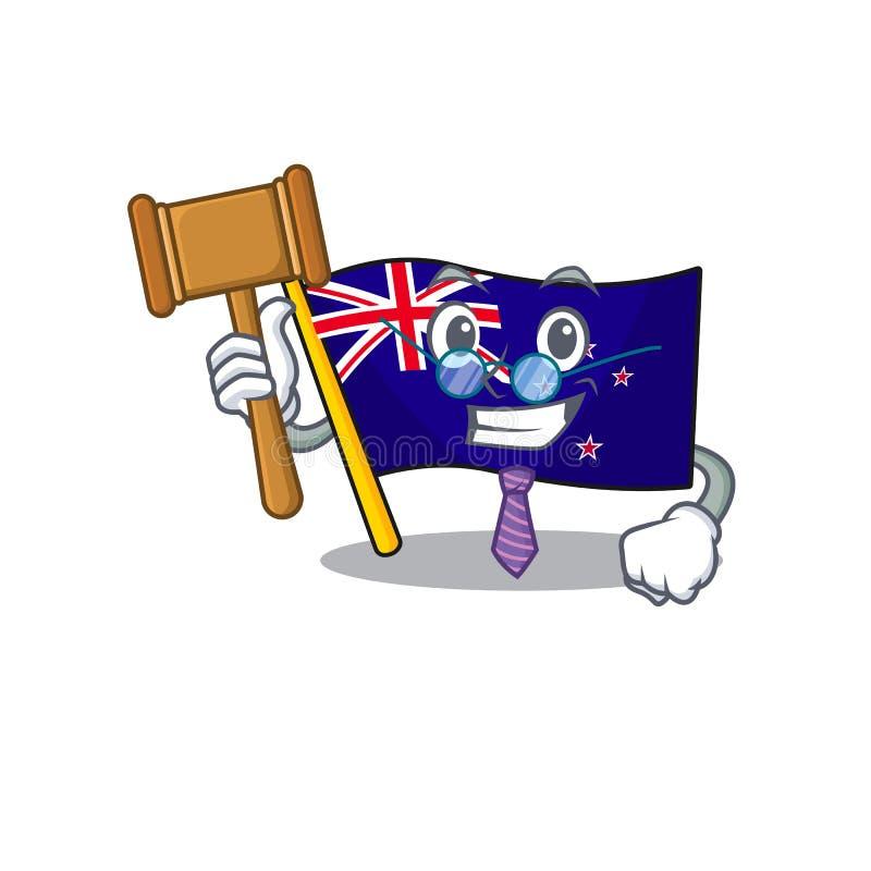 Judge flag new zealand in cartoon drawer. Vector illustration royalty free illustration