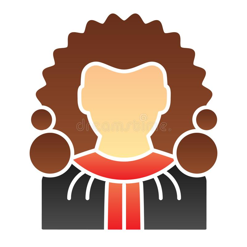 Judge flat icon. Chief justice color icons in trendy flat style. Court gradient style design, designed for web and app. Eps 10 stock illustration