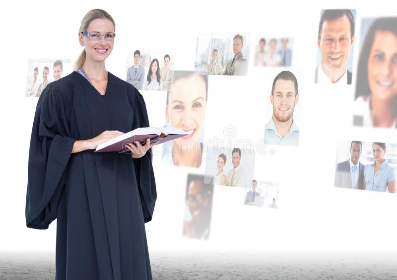 Judge in front of peoples faces stock photo