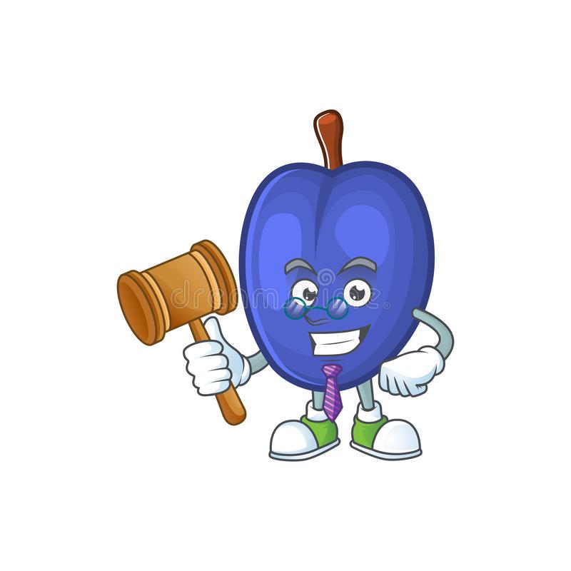 Judge fruits prune character on white background. Vector illustration royalty free illustration