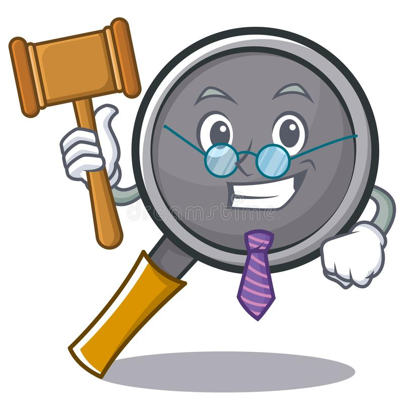 Judge frying pan cartoon character. Vector illustration vector illustration