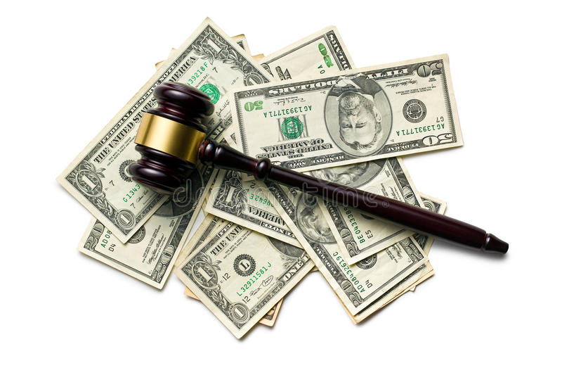 Judge gavel on american dollars stock photos