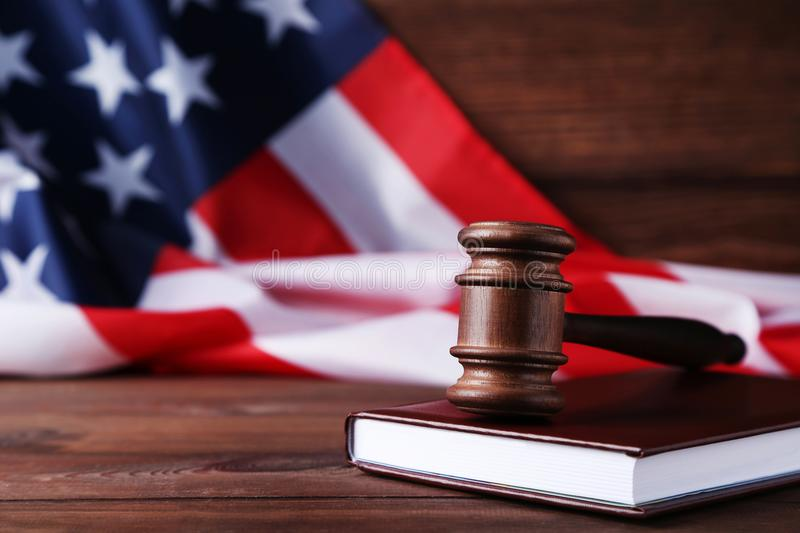 Judge gavel with american flag royalty free stock photography