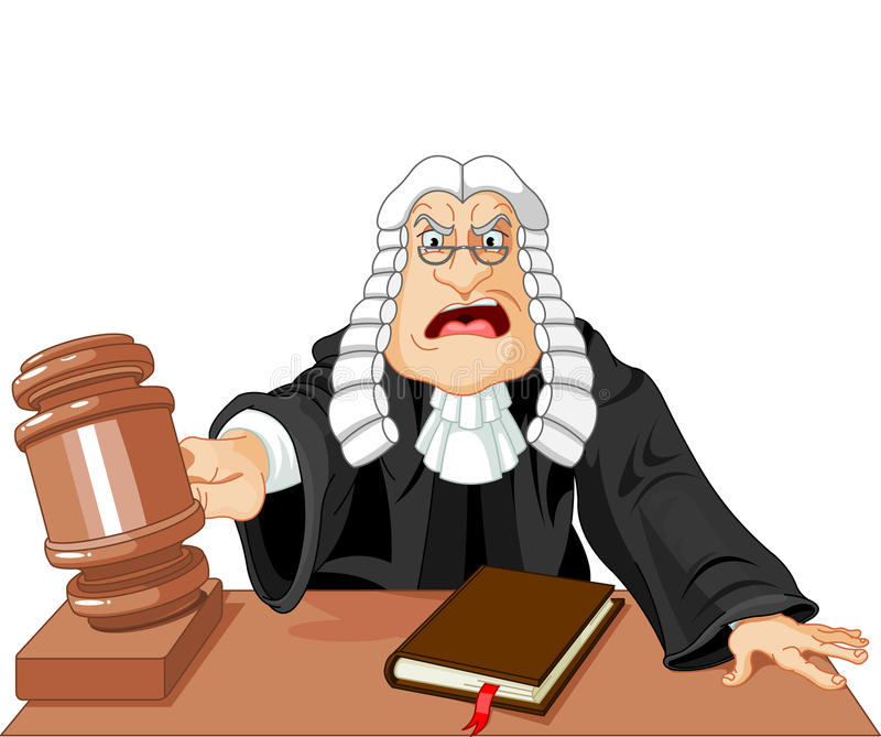 Judge with gavel. Angry judge with gavel makes verdict for law vector illustration