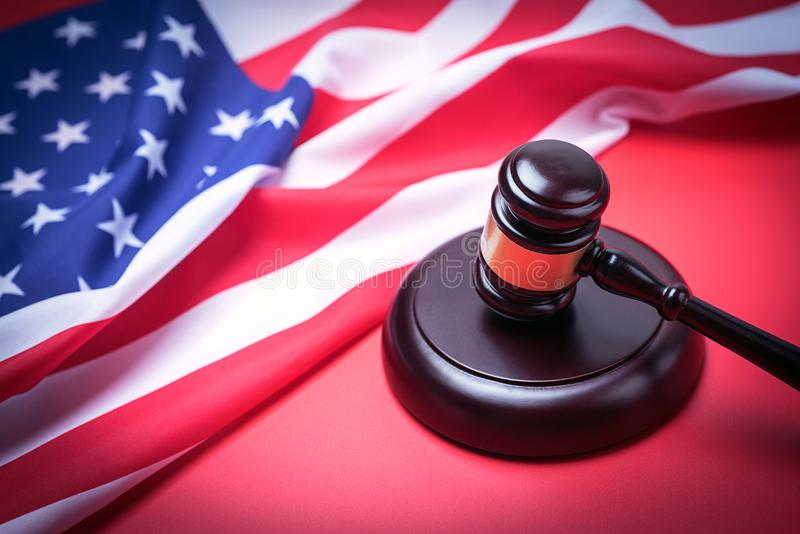 The judge gavel and background with usa flag stock image