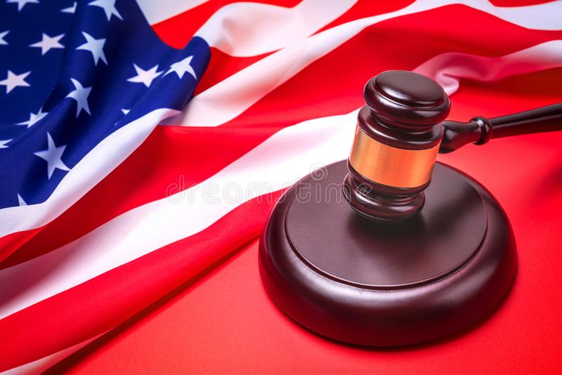Judge gavel and background with usa flag stock photo