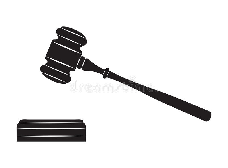 Judge gavel. Black silhouette on white background royalty free illustration
