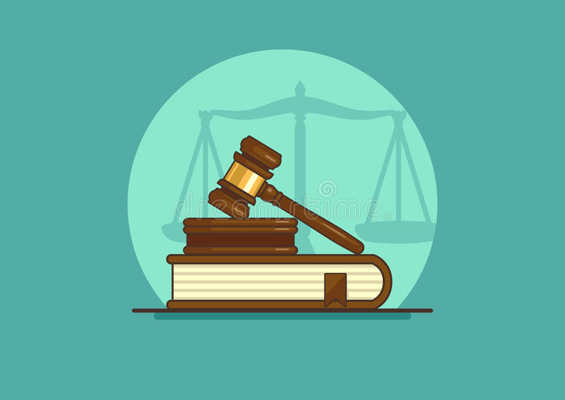 Judge gavel. On book with scales, flat vector illustration stock illustration