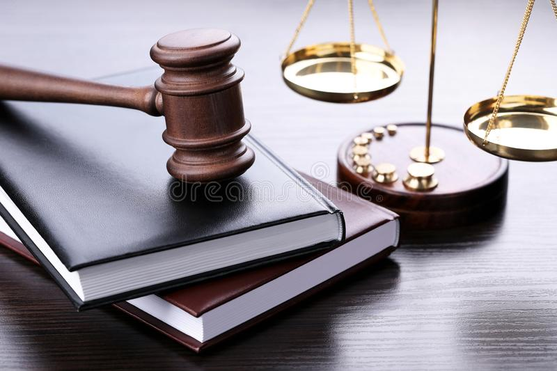 Judge gavel with books royalty free stock photo