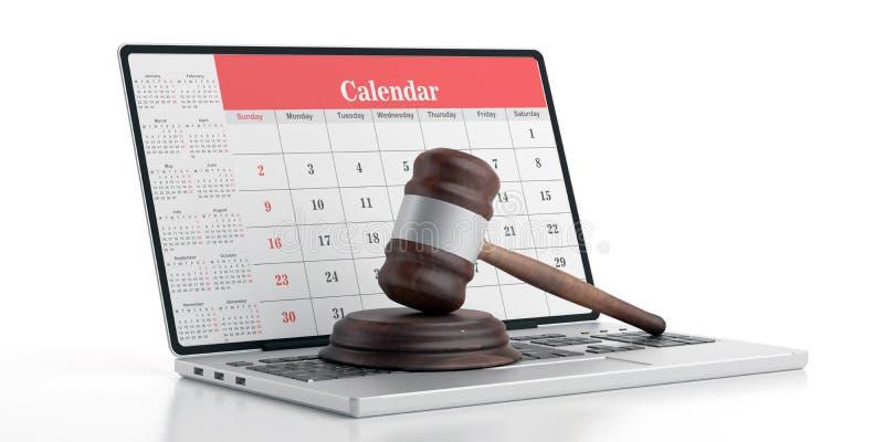 Judge gavel on computer, Calendar on  laptop screen, 3d illustration vector illustration