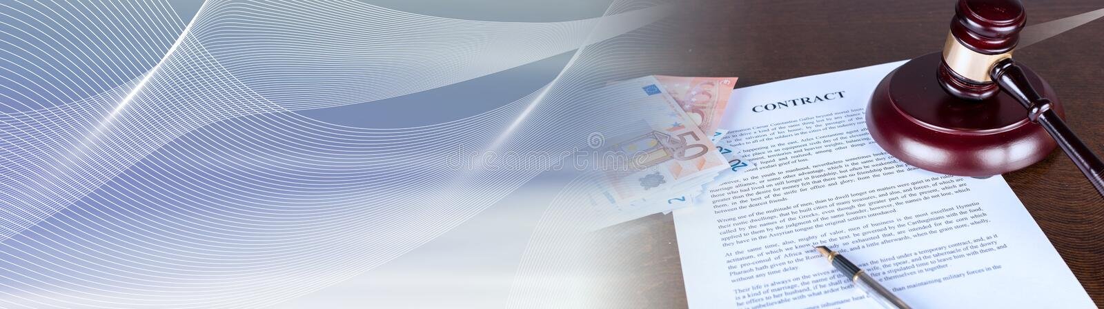 Law concept; panoramic banner royalty free stock images
