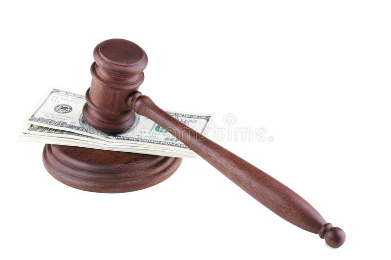 Judge gavel with dollars. On white background stock photography