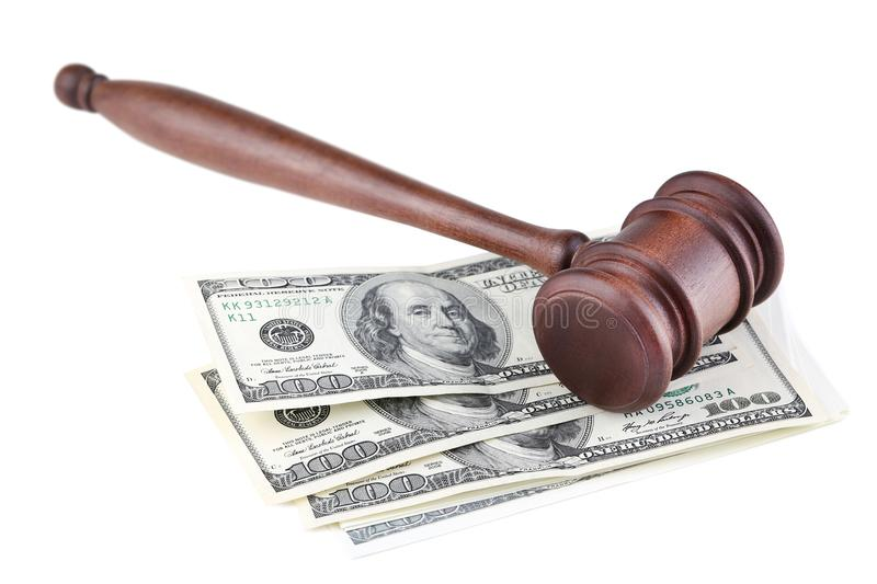 Judge gavel with dollars. On white background stock photos
