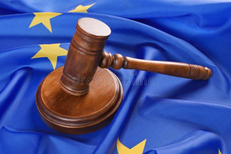 Judge gavel on European Union. Flag stock photos